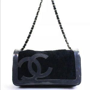 Chanel Sport Terry Cloth Perforate Vinyl Trim Flap